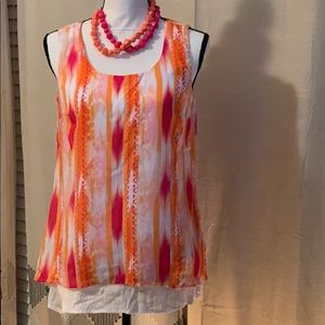 New Directions multi-color sleeveless blouse♥️